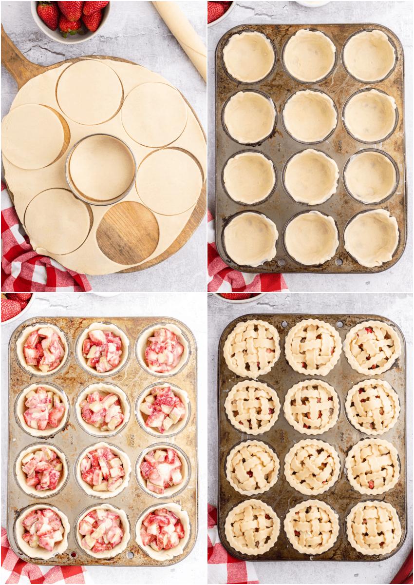 steps for making strawberry rhubarb pies