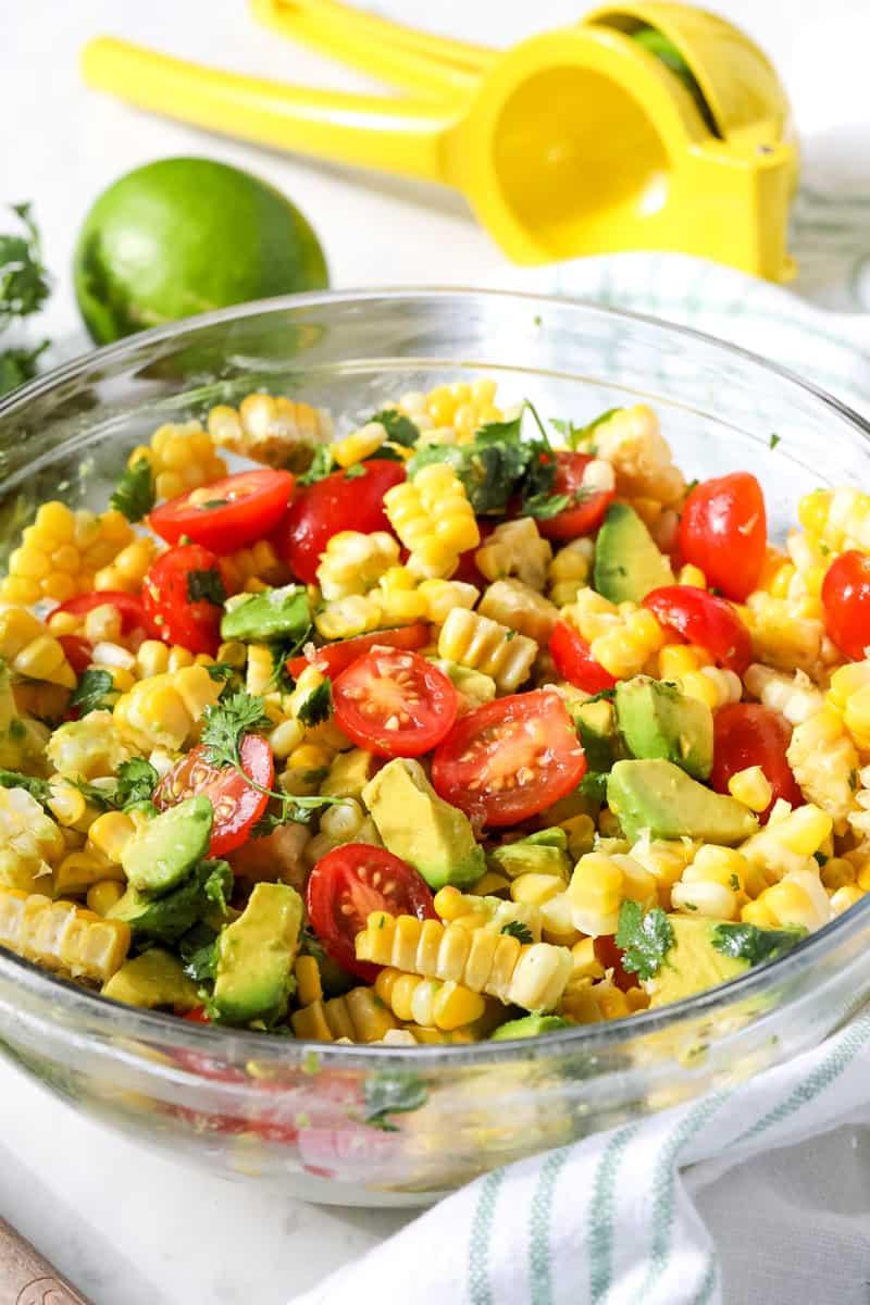 Corn, Avocado & Cilantro Salad in glass bowl