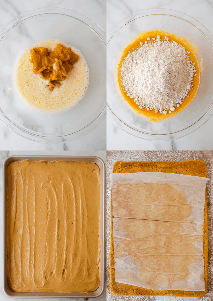 steps to make cake mix pumpkin roll with cream cheese frosting