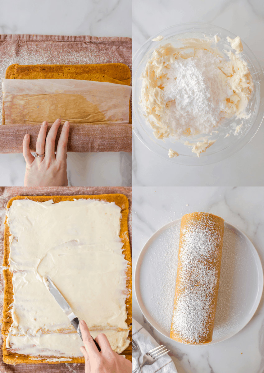 steps to make cake mix pumpkin roll cream cheese frosting