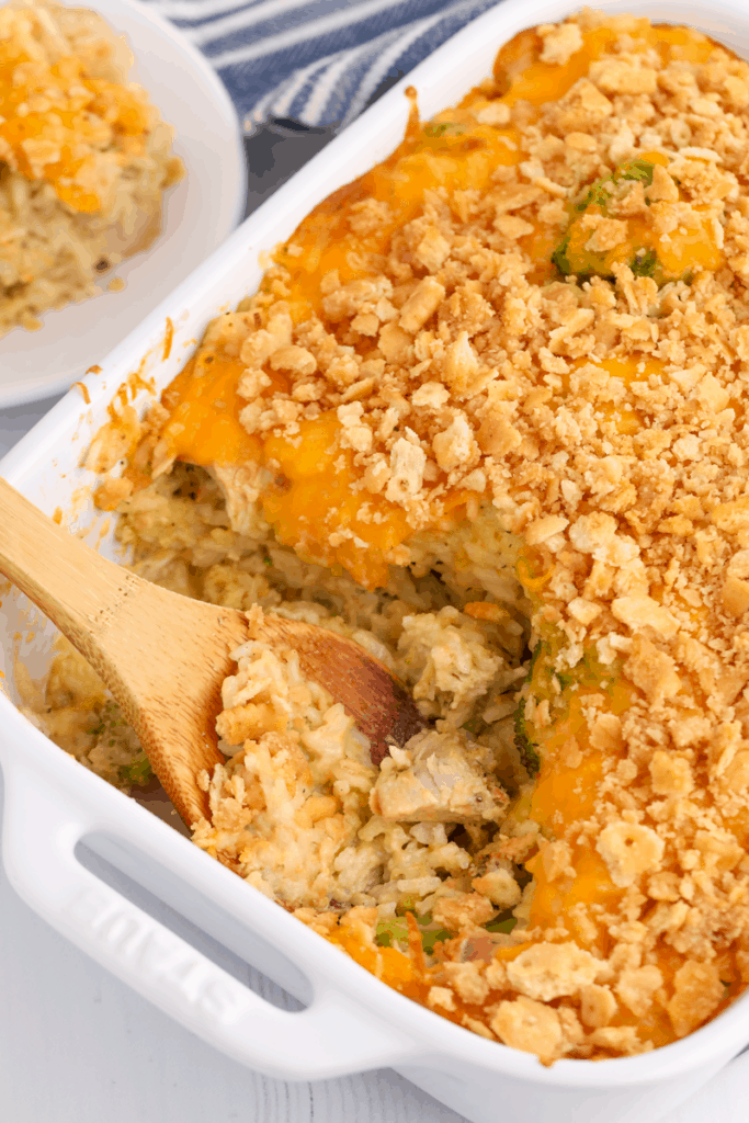 chicken and rice casserole in a dish being served