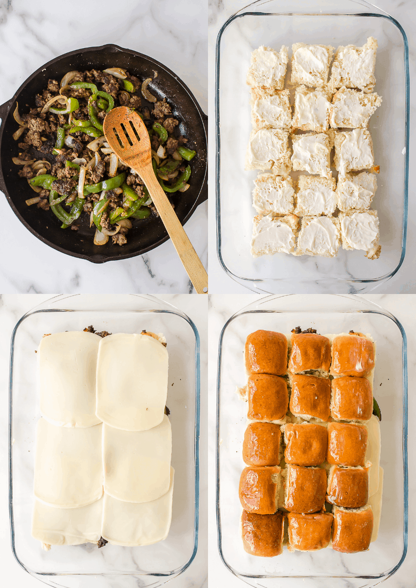 steps to make philly cheesesteak sliders