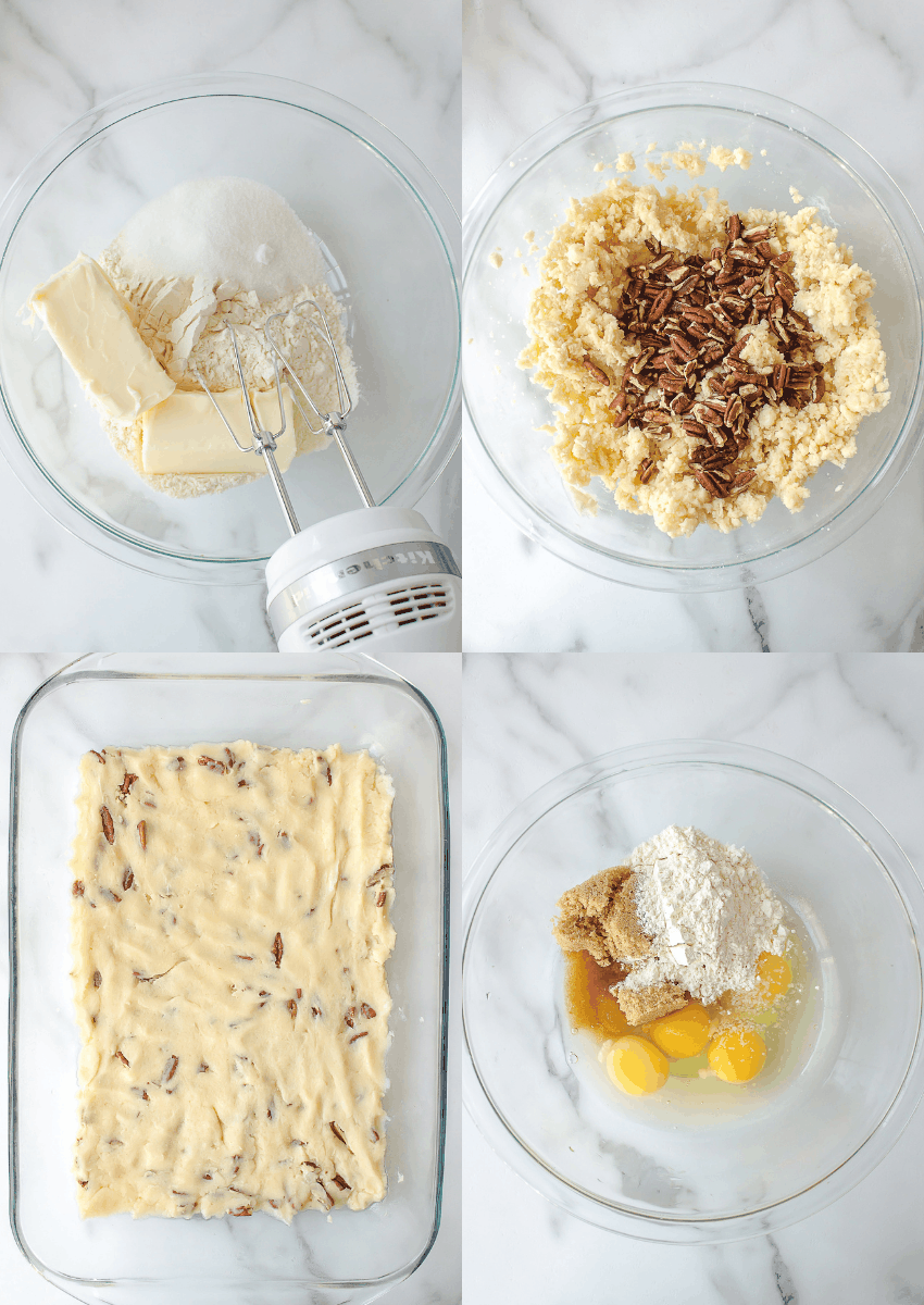 first four steps to make pecan pie bars