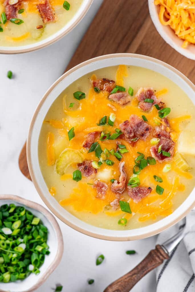 potato soup in a bowl on a table